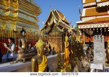 Chiang Mai, Thailand - July 30. 2010: Tourists And Pilgrims In Wat Phra That Doi Suthep Temple .