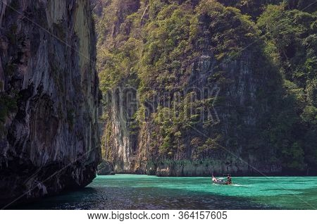 Beautiful Limestone And The Clear Sea Phi Phi Leh South Of Thailand, Krabi Province, Thailand, Asia