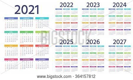 Calendar 2021, 2022, 2023, 2024, 2025, 2026, 2027 Years. Week Starts Sunday. Simple Year Template Of