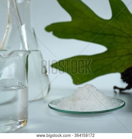 Closeup Potassium Chloride On White Laboratory Table. Chemical Used In Otc Products And Topical Phar