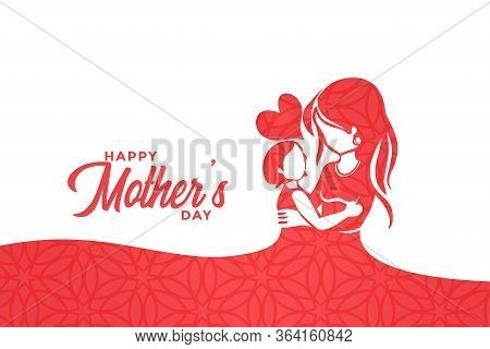 Happy Mothers Day Mom And Child Love Greeting Design