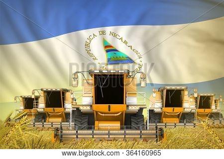 A Lot Of Yellow Farming Combine Harvesters On Grain Field With Nicaragua Flag Background - Front Vie