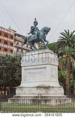 Bari, Italy - 06 November, 2019: Equestrian Statue Of Umberto I In Bari, Italy