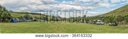 Royal Natal National Park, South Africa - March 14, 2020: Panoramic View Of The Mahai Caravan Park A