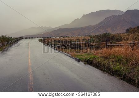 A Wet Road After Heavy Rain On The Way To Mount Aso In Kyushu, Japan