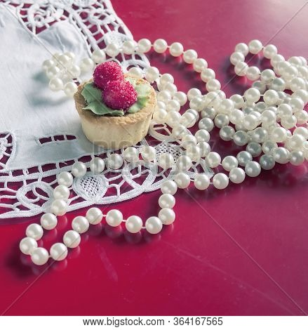 Cake, White Lace, Pearl Lace On Red Background, Vintage Romantic Valentine's Day Items.