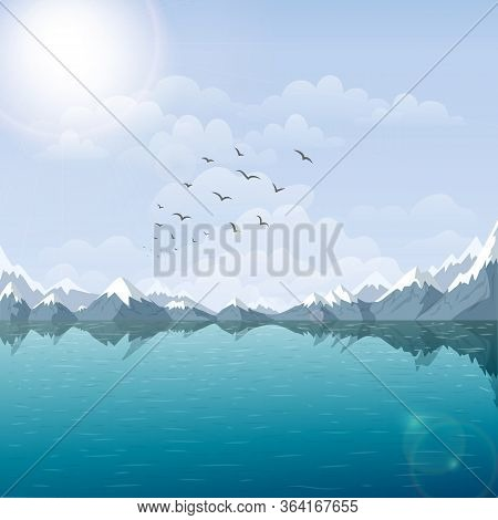 Lake And Mountain Landscape Illustration. Beautiful Nature Background With Riverside, And Snow Peaks