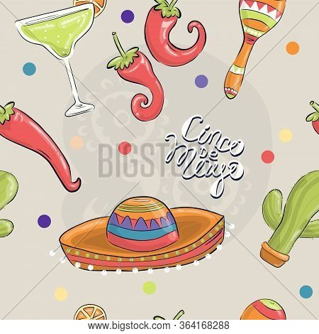 Cinco De Mayo, Colorful Holiday Background, Cartoon Vector In Flat Style. Seamless Patern