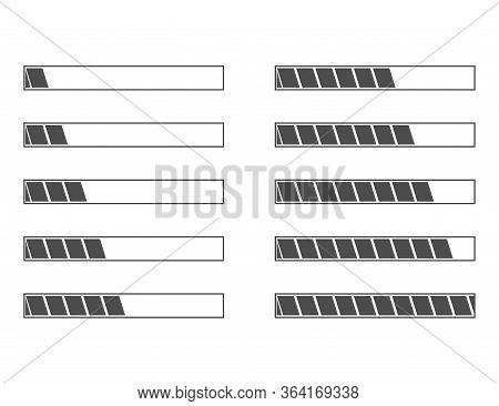 Loading Progress Bar Status From 5 To 100 Percentage In Flat Design. Black Upload Or Download Status