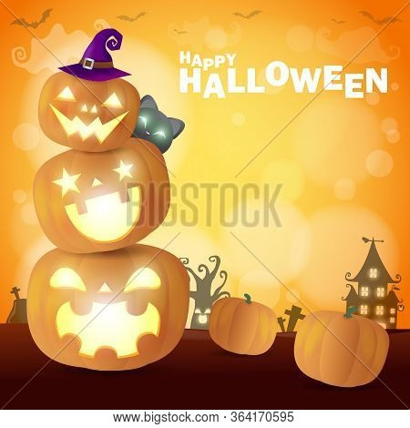Happy Halloween Poster Party  Pumpkin Patch In The Moonlight Bokeh. Jack O Lantern Party. Trick Or T