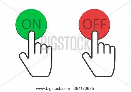 Clicking Hand On And Off Buttons In Red And Green Colors. Finger Touching On Power Button. Turn Off