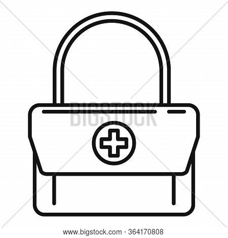 First Aid Kit Bag Icon. Outline First Aid Kit Bag Vector Icon For Web Design Isolated On White Backg