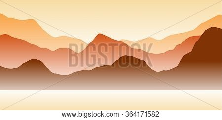 Nature Vector Background, Landscape With Mountains And River. Panorama Of Mountains, Wilderness, San