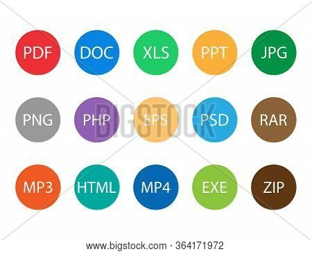 File Documents Format Icons. Set Of Flat Rounded Type Extensions Like Doc, Pdf, Jpeg. Icon Of File F