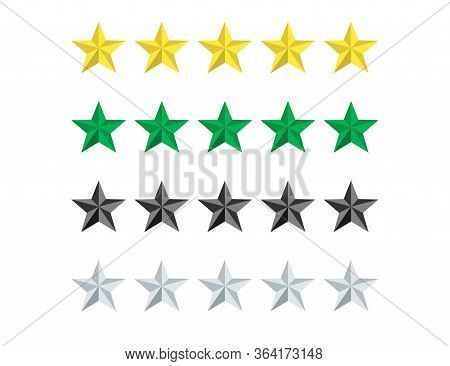 Set Of Stars Rate In Yellow, Green, Grey And Black Colors. Review Or Vote Evaluation Rank. Five Star