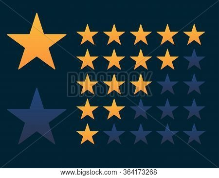 Set Of Stars Rate In Orange And Dark Blue Colors. Review Or Vote Evaluation Rank. Five Stars For Qua