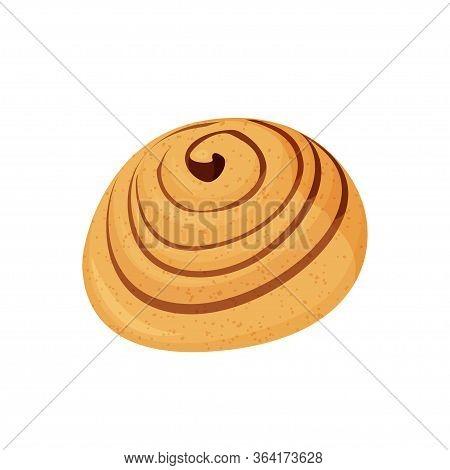 Tasty Cinnamon Bun Vector Illustration. Isolated On White Background.