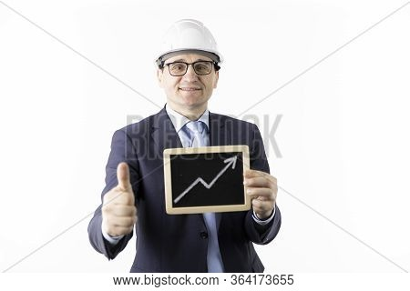 Happy Mining Engineer Holding Sign With Up Arrow Rising Oil Quotes And Showing Like Sign With Thumb