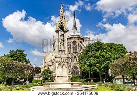France, Paris, May, 20, 2014 - Notre-dame De Paris Or Cathedral Of Our Lady Of Paris. French Gothic