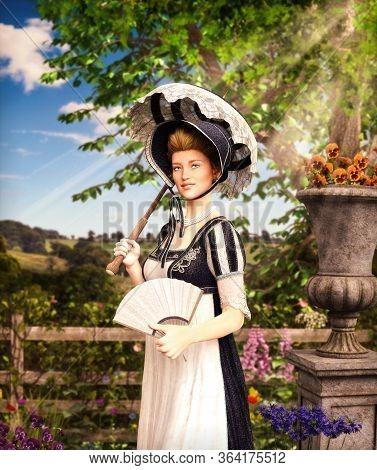 Portrait Of An Elegant Jane Austen Style Woman Strolling The Countrysideon A Summer Day, Regency Dre