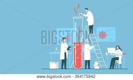 Vector Colorful Concept Illustration Of A Team Of Scientists Working On Antiviral Agent In The Labor