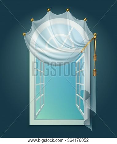 Open Window Billowing Curtains Composition With View Of Clear Sky And Curtain Lace With Golden Ribbo