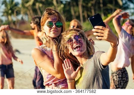 Happy People Taking Self Portraits On Smartphone In India Goa Fest