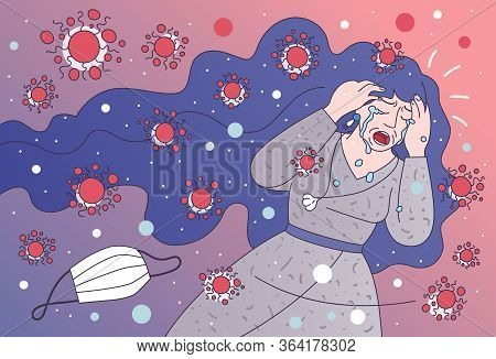 Exhausted Woman Runs From Evil Covid-19 Germs. Coronavirus Anxiety, Covid Panic, Pandemic Fear - Vec