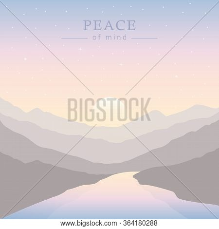 Peace Of Mind Nature Landscape With Big River At Sunset Vector Illustration Eps10