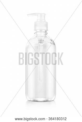 Alcohol Gel Hand Sanitizer In Clear Pump Bottle For Product Design Mock-up Isolated In White Backgro