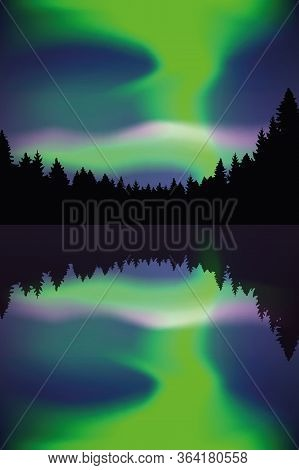 Beautiful Polar Lights By The Lake In Forest Vector Illustration Eps10