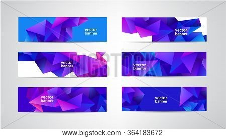 Vector Abstract Polygonal, Mosaic, Geometric, Triangular Pattern Banners Collection. Purple Facet 3d