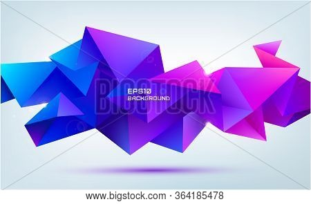 Vector Abstract Geometric 3d Facet Shape Isolated. Use For Banners, Web, Brochure, Ad, Poster, Etc.