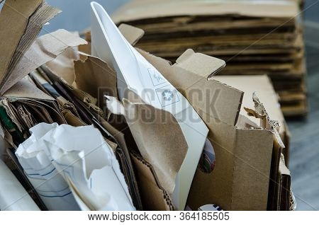 Recyclable Materials. A Selection Of Garbage For Recycling. Paper Recyclable. Waste Paper Recycling