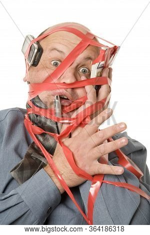 A Humorous Red Tape Business Concept On White.