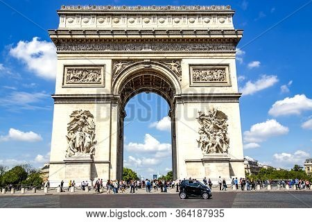 France, Paris, May, 20, 2014 - Triumphal Arch Of The Star, Is One Of The Most Famous Monuments In Pa