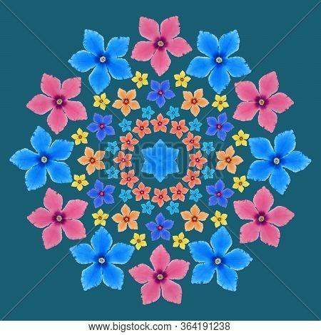 Mandala From Dried Pressed Flowers, Petals. Cyclamen. Mandala Is Symbol Of Buddhism, Hinduism, Yoga.