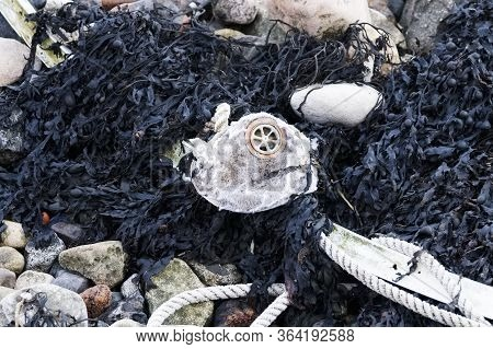 Face Mask Disposable Disposed On Public Beach Waste