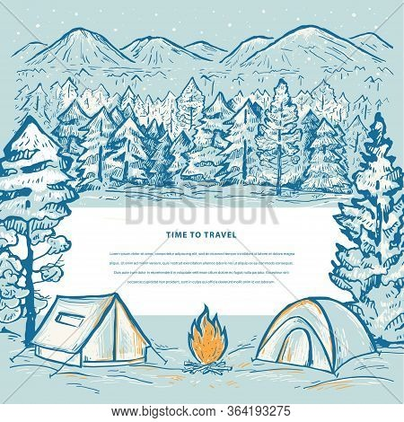 Winter Travel Template With Tents, Mountains, Bonfire, Snow, Pine Forest And Space For Your Text. To