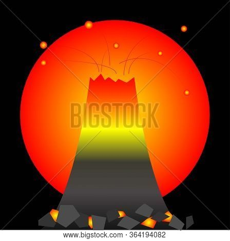 Vector Abstract Eruption On A Black Background