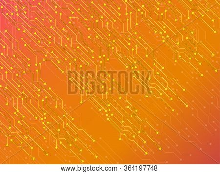 Abstract Background With Circuit Board, Technology Texture. Electronic Motherboard. Vector Illustrat