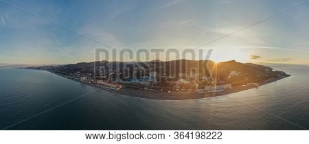 Panorama Aerial View From Of The Coastal City Of Loo, A Suburb Of Sochi, Russia