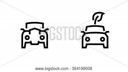 Eco Leaf Electric Car Icons. Editable Vector Outline.