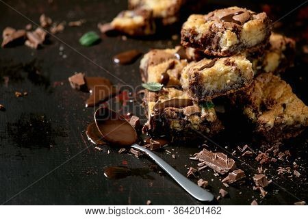 Trend Baking Brookies Chocolate Brownies And Cookies Homemade Cake Sliced By Squares In Row, Chocola