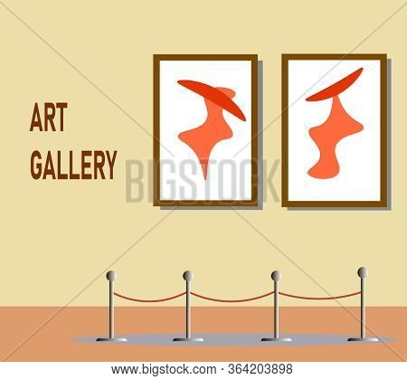 An Exhibition At The Museum. Vector Illustration. Contemporary Art Gallery. Modern Art Gallery In Mu