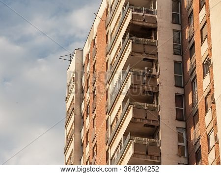 Communist Housing Buildings, In A Decay And Diplapidated Condition In Belgrade Serbia. This Kind Of