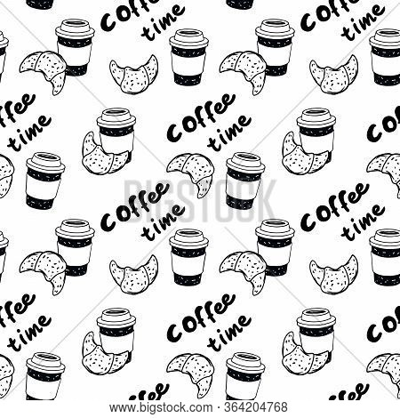 Vector Black And White Illustration Croissant And Cup Of Coffee With Text Coffee Time.