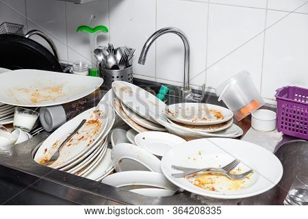 Metal Sink Full Of Dirty Dishes, Crockery, Tableware
