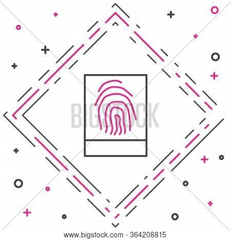 Line Fingerprint Icon Isolated On White Background. Id App Icon. Identification Sign. Touch Id. Colo