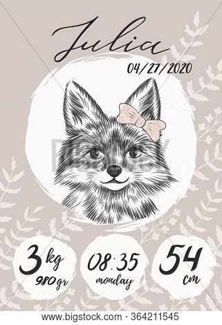 Metric Baby Girl Poster With Little Fox With Bow Sketch, Hand Drawn Julia Name, Calligraphy Text. Ti
